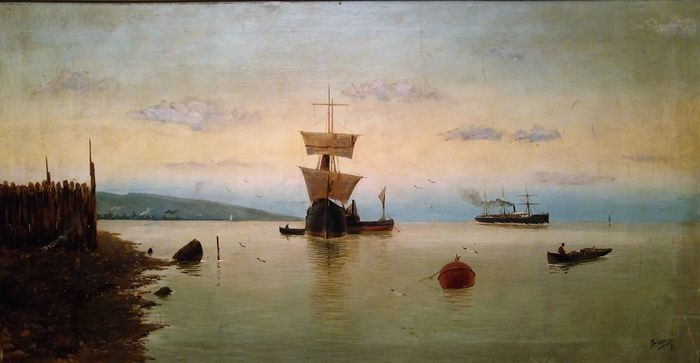 Spanish School (19th century) - Sailing boats in the port