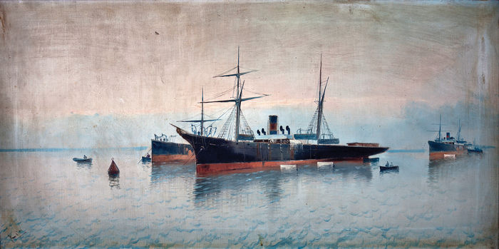 Catalonian school (19th-20th century) - Ships in the harbour