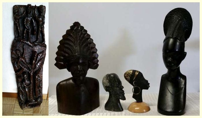 Lot - 5 African statues - Ebony, soapstone , bronze / copper and heavy wood