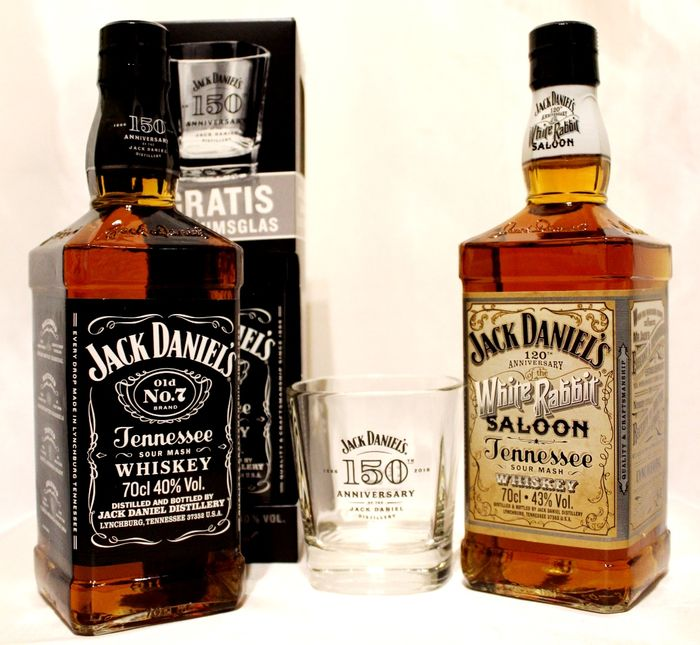 2 bouteilles de jack daniels tennessee whiskey 1 jack daniels 150e anniversaire 1866 2016. Black Bedroom Furniture Sets. Home Design Ideas
