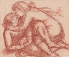 Aristide Maillol (1861/1944) - Deux femmes enlacées - with certificate issued by Mr. Lorquin