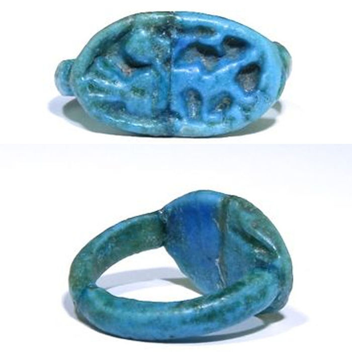 Ancient Egyptian Faience Ring with Ptah - 18 mm