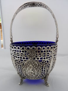 Silver bowl with blue glass, Germany, late 1800/early 1900