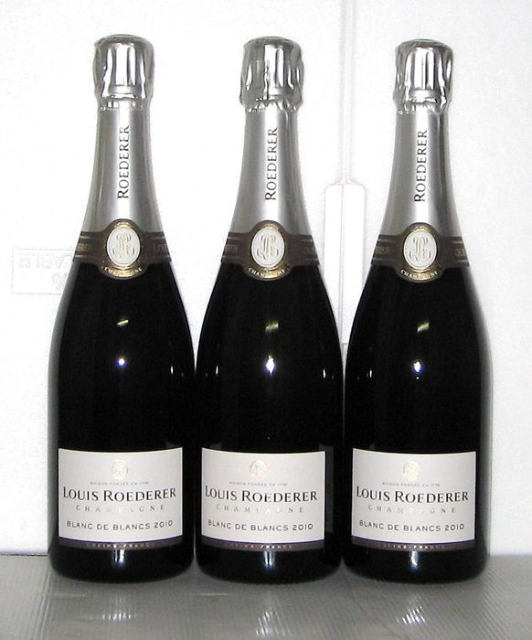 2010 louis roederer blanc de blancs champagne lot of three bottles catawiki. Black Bedroom Furniture Sets. Home Design Ideas