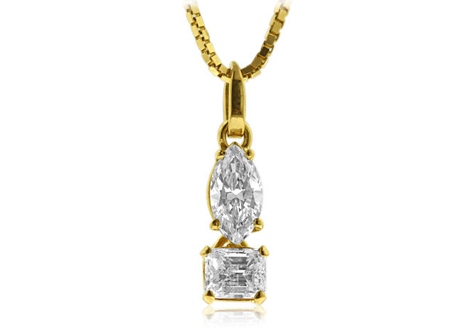 One off 18 kt yellow gold marquise and square emerald cut diamond one off 18 kt yellow gold marquise and square emerald cut diamond pendant ca aloadofball Choice Image