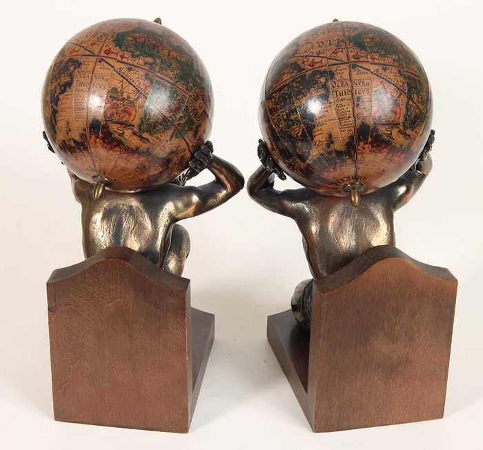 Atlas With Globe After A 1662 World Globe Vintage Pair