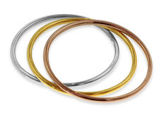 Stylish 18kt Bangles in Three-Colours Gold – White, Yellow and Pink, As New! - Inner diameter is 6.5 cm