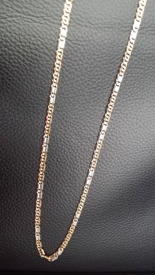 14 kt two tone yellow and white gold necklace