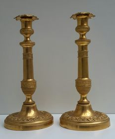 A pair of Louis Philippe gilt bronze candlesticks - France - circa 1850