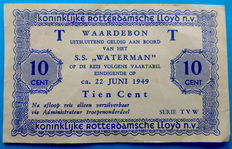 Netherlands - Board money gift voucher 10 cents 1949 - S.S. Waterman - Rotterdamse LLoyd - PL1615.2.a with T