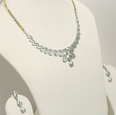 6.32 ct diamond necklace with matching earrings and chain