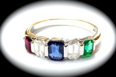 Gold ring with diamonds, ruby, sapphire and emerald