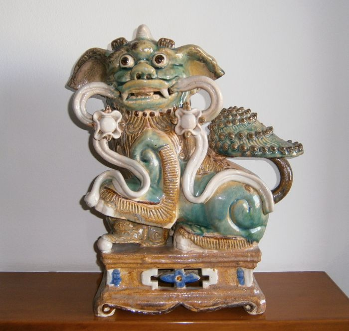 Sculpture in polychrome pottery - Chinese - 2nd half of the 20th century