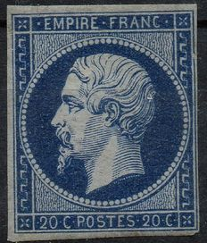 France 1854 - Napoléon III 20c blue black Empire Français Signed Calves – Yvert no. 14Ab
