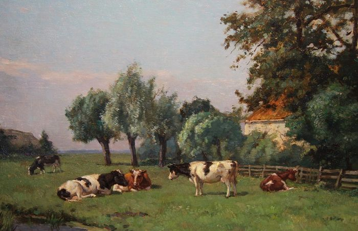 Louis Soonius (1883-1956) - Farm with cows