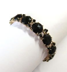 Victorian 585 gold bracelet with 37 faceted onyxes, around 1900