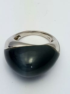 925 silver design ring with obsidian stone