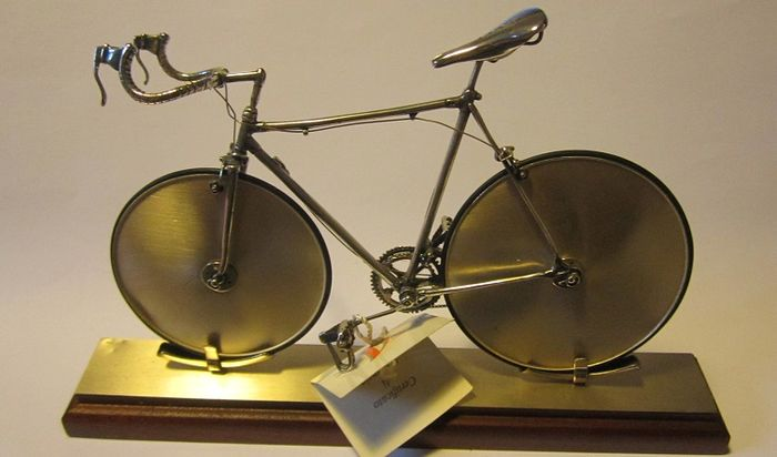 Silver Bicycle Miniature, memorial of Moser hour record of 1984, Sacchetti, Italy