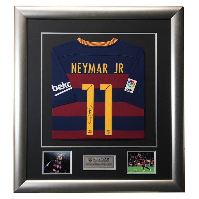 Signed Neymar Jr 2015/16 Barcelona Deluxe Framed Shirt - Signed Soccer & Football Legend