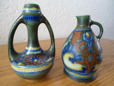 Plateelbakkerij Zuid Holland - 2 vases decor Rhodian Holland