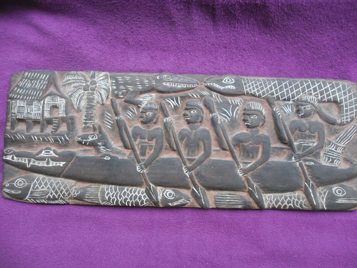 Primitive And Tribal Art Hand Carved Wooden Decorative Wall