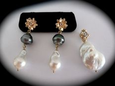 18 kt gold earrings with baroque pearls and diamonds + larger pendant with pearl and diamonds