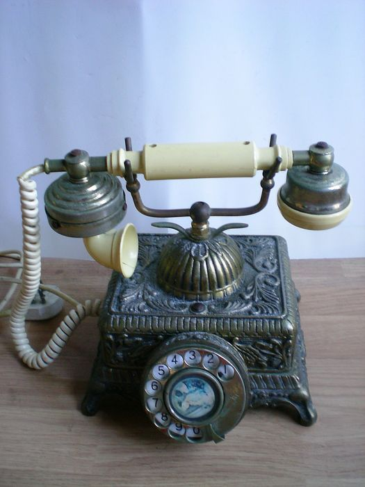 Old Copper Plated Victorian Telephone Very Nice Decoration Piece
