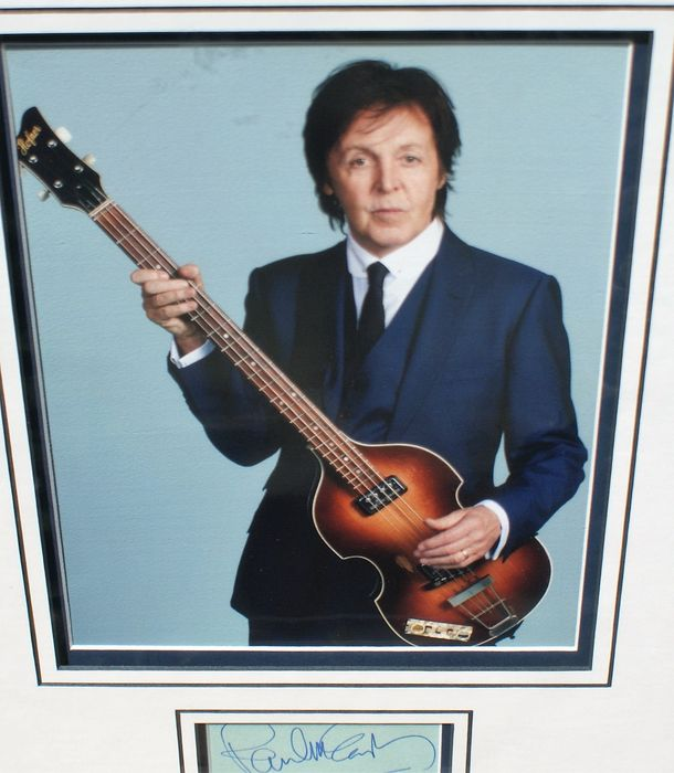 Paul McCartney Bass Guitarist Of The Beatles 20cm X 25cm Coloured Photo Triple Mounted Matted With Hand Signed Signature Total Size 28cm 40cm COA