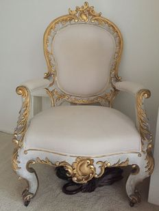 A beautiful Rococo style grey painted and parcel gilt four-piece suite of seat furniture - South Germany - second half 19th century