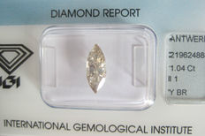 1.04 ct Marquise brilliant Yellowish Brown  I1