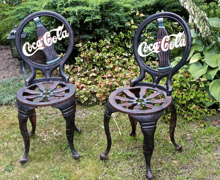 Coca Cola U2013 Two Cast Iron Chairs