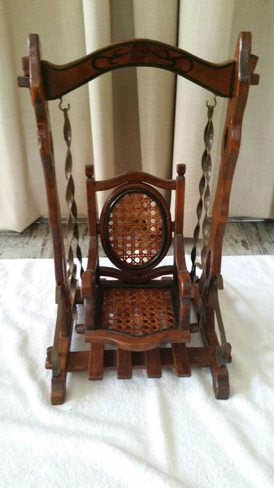 Thonet Style Antique Doll Swing Wood Reed And Cast Iron