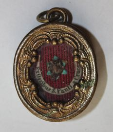 Authentic and rare theca with the relic of Saint Paul of the Cross, secured with original sealing wax and the seal of Passionist - Italy - 19th cent.