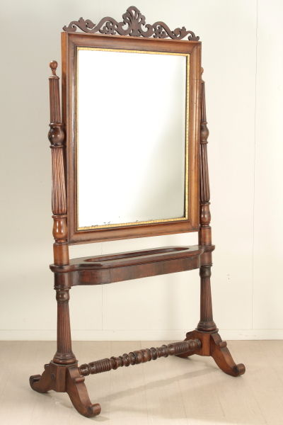 Psyche with empire mirror solid walnut wood italy for Specchio 1900