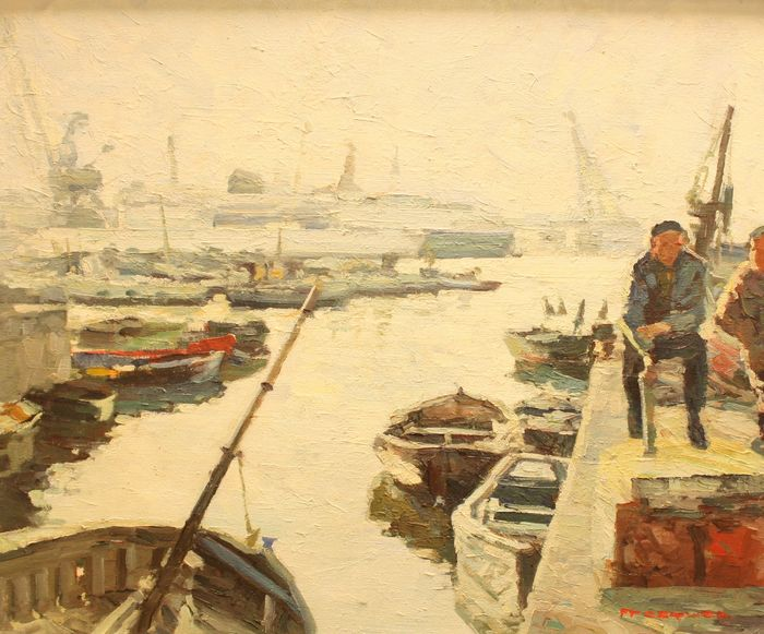 "Pascual Fresquet Almurin (1930) - Fishing port ""Grey day"""