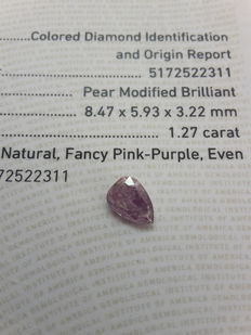 Pear, modified brilliant cut, 1.27 ct, fancy pink–purple, even.
