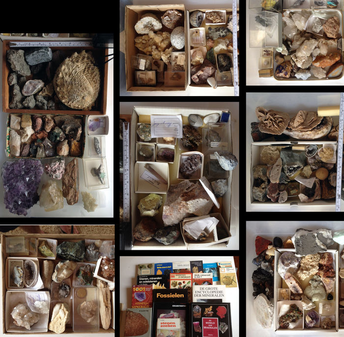 Varied collection of stones, minerals & fossils - approx. 38 kilos. approx. 150-175 stones.