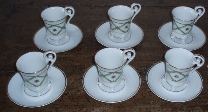 Limonges, 6 cups with saucers, half of the 20th century