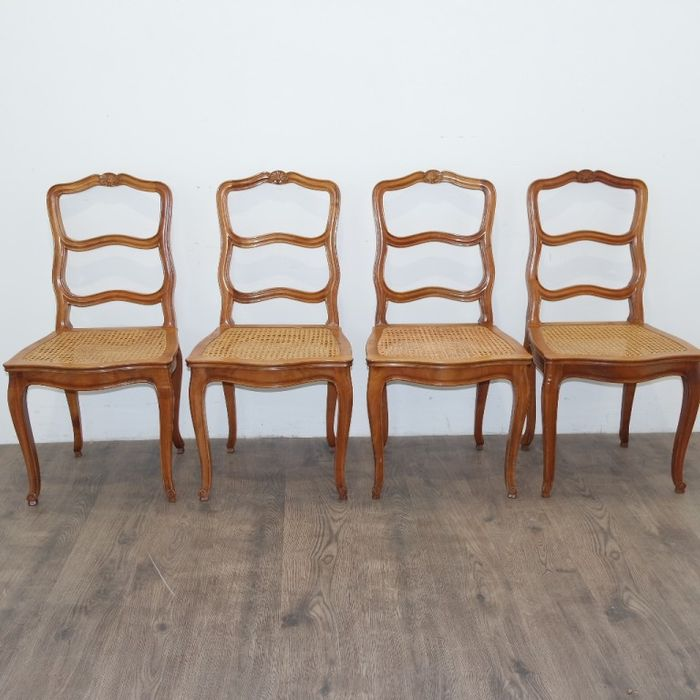 Fantastic A Set Of Four Caned Cherrywood Louis Xv Style Dining Room Chairs French Lyon Late 19Th Century Early 20Th Century Catawiki Spiritservingveterans Wood Chair Design Ideas Spiritservingveteransorg