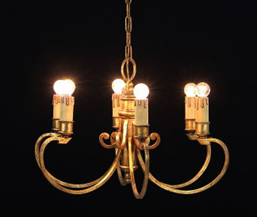 Unknown designer - gilded chandelier with six brackets in wrought iron - early 1900 - Italy
