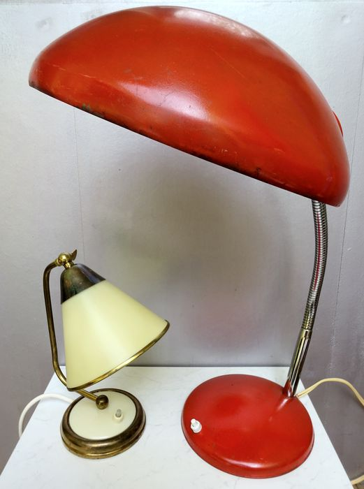 Designer Unknown   Modern Orange Desk Lamp With Flexible Base And 50s Table  Lamp