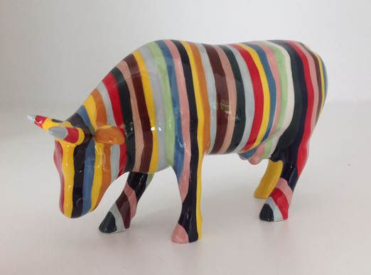 Cow Parade Cowparade - striped Cow - medium - ceramic