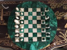 Chess set made of white jade and malachite