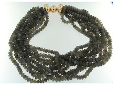 Goldschmiede Schubart - 9 row Necklace of Labradorite with solid 18k gold clasp