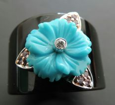 Ring with onyx turquoise pink sapphires and diamond