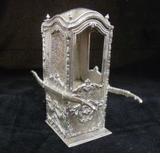 Sedan chair, litter or palanquin, in .800 silver, handcrafted, 20th century