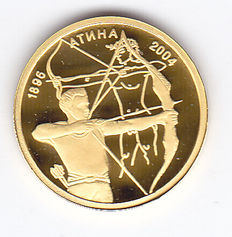 "Bulgaria – 5 Leva 2002 ""Olympic Games 2004 archery"" gold"