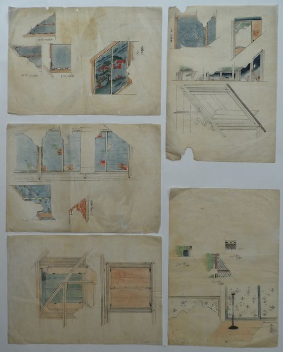 Pen drawing paintings on washi paper interior design for Interior design styles 20th century
