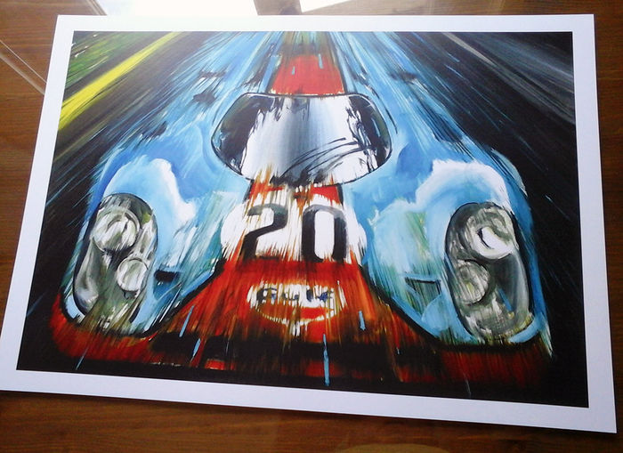 porsche 917 gulf steve mcqueen le mans 1970 car affiche. Black Bedroom Furniture Sets. Home Design Ideas