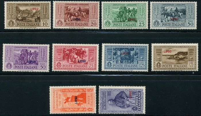 Aegean Islands – Lipsio – 1932 – 'Garibaldi' – Sassone 17-26